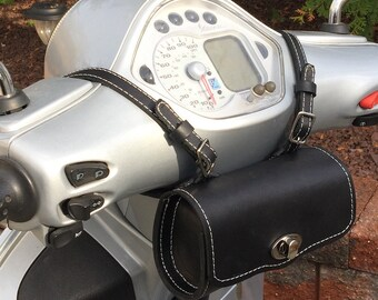 Leather Vespa Scooter Bag Tool Pouch Day or Ditty Bag,  Black Leather Roll Bag Bicycle Rollbag Gift