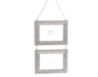 5 x 7 - Silver Mosaic Double Photo Picture Frame Suspended from Chain