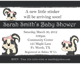 20 Personalized Baby Shower Invitations  - Little Stinker Design