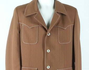 Vtg 70s brown western style sport coat jacket with polo player horse lining chest 42