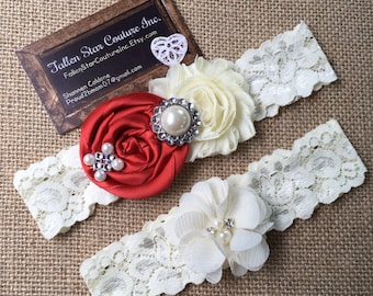 Wedding garter / David's Bridal Persimmon / wedding  garter SET / bridal  garter/  lace garter / vintage lace garter