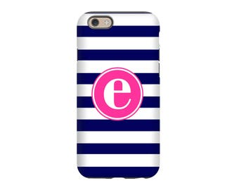 iPhone 8 Case - Personalized iPhone 8, iPhone 7, iPhone 6 Tin Tree Gift Blue stripes Pink Monogram Gift for her