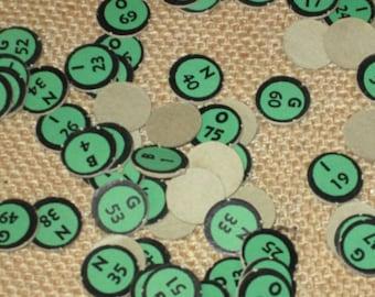 Large Lot of 70 Vintage Green Black Cardboard Paper Bingo Numbers