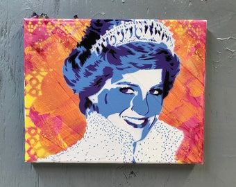 Princess Diana Painting on Stretched Canvas - pre made and ready to ship - pictures show actual item you are purchasing.