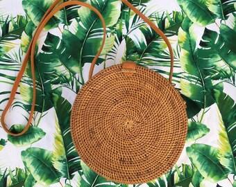 Round Rattan Bag 20cm with Tassel on Bronze Chain Natural Ata Reed Bali Handbag