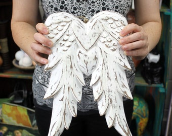 Hand Crafted Wooden Angel Wings  31cm Wall Hanging Shabby Chic