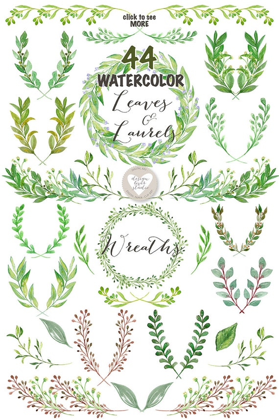 Watercolor Leaves Laurel and Wreath wedding clip art