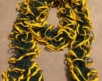 Ruffle Scarf - Green and Gold