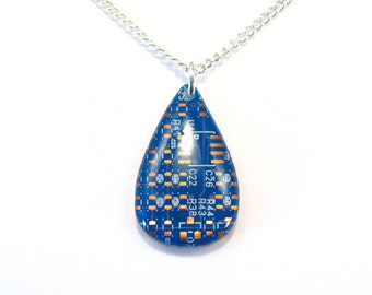 Circuit Board Necklace Blue Pendant Recycled Jewelry PCB Tear Drop Jewellery Green Geek Nerd Motherboard Computer Chip Gift for Her Techie