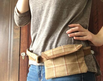 Wool Fanny Pack, Faux Suede Leather Hip Purse