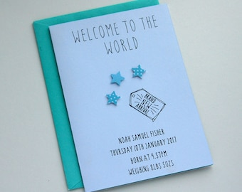 Hand made Welcome to the World card for new baby, new mum