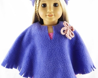 "18"" American Doll Girl Poncho and Hat"