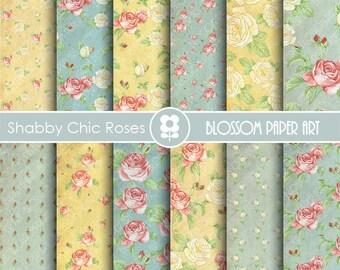 Vintage Digital Paper, Blue Floral Digital Paper Pack, Scrapbooking, Roses, Blue VIntage Roses - INSTANT DOWNLOAD  - 1849