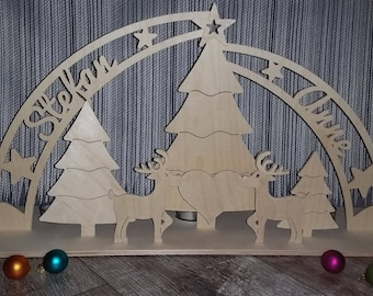 """Individual candle arches with your name """"In love with reindeer"""""""