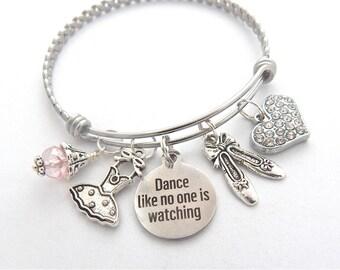 Dance Teacher Gift, Dancer Bracelet, Gift for Dancer, BALLET Jewelry, Ballet Bracelet, Dance like no one is watching, Ballet Teacher Gift