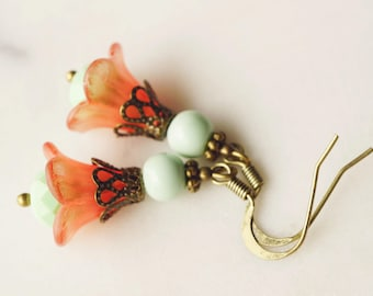 50% off SALE! Earrings,  Mint and coral lucite flower dangle earrings 1