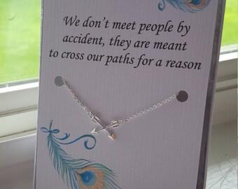 Long Distance Best Friend, Friendship Necklace, Best Friend Necklace,  Arrow Charm Necklace, Going Away Graduation Gift, Christmas Present