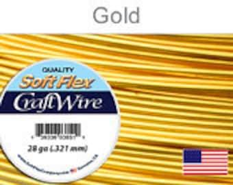 28 Gauge Gold Silver Plated Wire, Soft Flex, Non Tarnish, Round, Supplies, Findings, Craft Wire