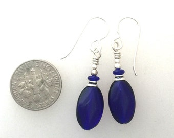 Cobalt Blue Earrings with Silver French Hooks