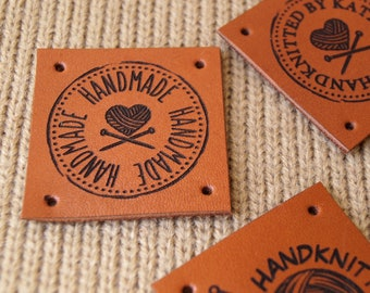 Labels for handmade items, knitting labels, custom clothing labels, product labels, leather labels, personalized labels, logo tags, 25 pc