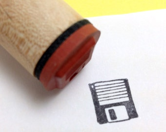 Retro Computer Floppy Disk Rubber Stamp