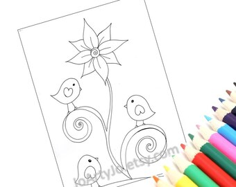 Coloring Page Printable, Cute Birds- PDF Instant Download Page 3