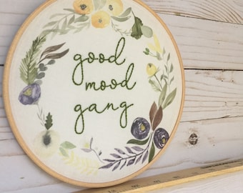 READY TO SHIP . good mood gang . hand embroidery . outdoors . campfire . nature . embroidery wall art . 7 inches