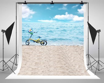 Sea Beach Bicycle Photography Backdrops Blue Sky White Clouds Photo Backgrounds for Summer Vacation Studio Props