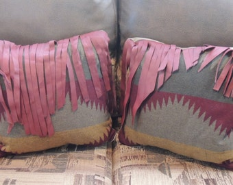Pillows  Southwest Pendleton Wool Pillows  Leather Fringe Cowbor Decor Cowboy Christmas 14 X 14 inches PC