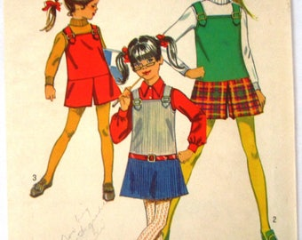 Girls Jumper and Mini-Pantjumper Size 8 Vintage 1960s Simplicity Pattern 8422 Cut/Complete