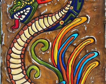 Feathered serpent quetzalcoatl limited edition gocco for Mural quetzalcoatl