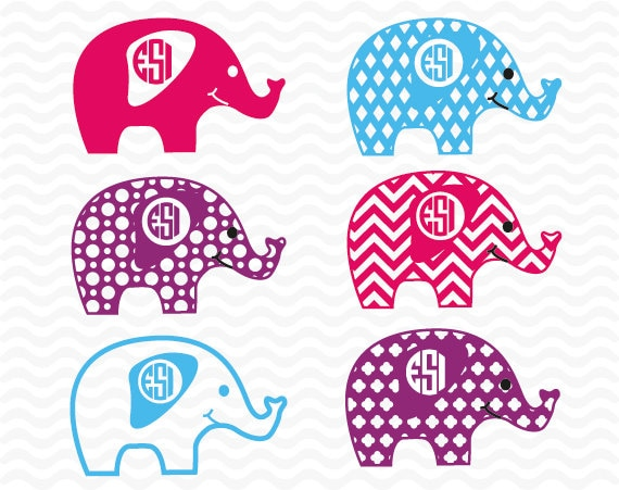 Elephant Monogram Designs Svg Dxf Amp Eps For Use With