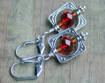 Simply square dangle earrings faceted RED crystal beads