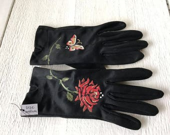 Vintage gloves hand painted black cotton wrist short length size medium butterfly rose tattoo design/ free shipping US