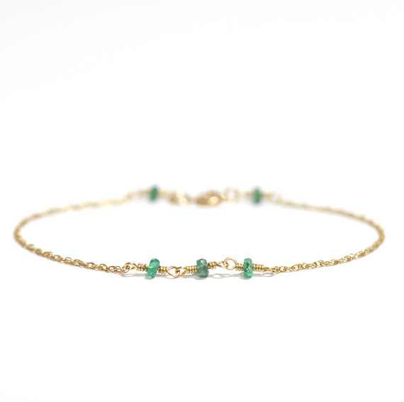14K Gold. Natural Emerald bracelet, Emerald gold bracelet, Delicate gold bracelet, Minimalist, May Birthstone Jewelry