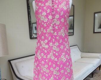 Vintage 1960's/Mod Pink Brocade Maxi Dress Medium/Pink and Gold Brocade Dress/Ira Curtis/Medium