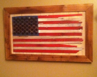 Boxed Frayed Old Glory  18X33- Wooden America flag in 3 different patterns