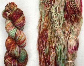 Hand dyed yarn, sock yarn, knitting yarn, merino blend, colorful