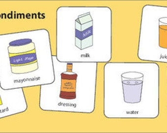 Drinks and Condiments Picture Cards