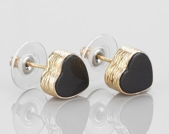 Heart Earrings With Black Onyx Stones, sterling silver base coated with 18K gold. black heart studs, black heart posts, heart earrings