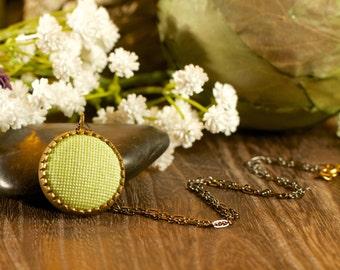 SALE Pale Green Glitter Brass Necklace - Button Necklace