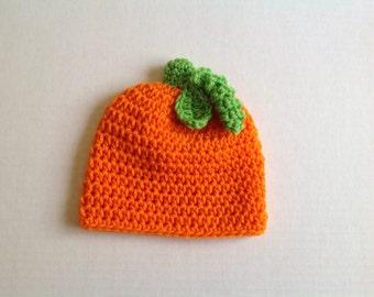 Crochet Pumpkin Hat - Newborn Pumpkin Hat - Baby Pumpkin - Photography Props Perfect for Fall Photos - Pumpkin Hat Newborn - 0-3 months