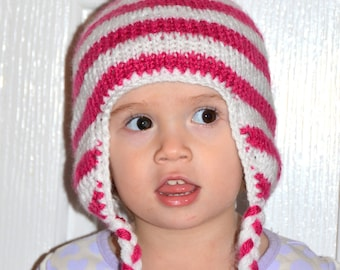 Baby Girl Hat, Baby Earflap Hat,White, Magenta, All Sizes