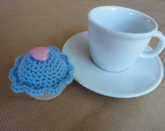 crochet cupcake fibre filled calorie free handmade decoration or miniature pincushion in light blue.