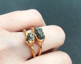 Raw Pyrite rings, pyrite jewelry, boho jewelry, 24kt gold, raw stone jewelry
