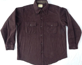 Brown Deerskin Chamois Cloth Flannel Work Shirt - Large Mens Cotton