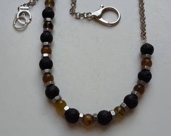 Catena Pantaloon in lava and Cracked Agate