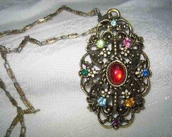 Vintage Unmarked Florenza Rhinestone Enamel Pendant