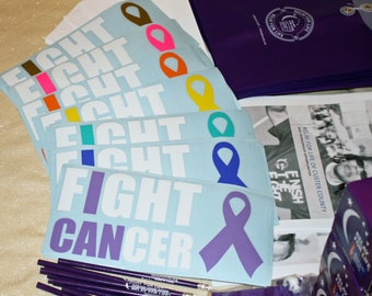 I CAN Fight Cancer Laptop or Car Decal - Cancer Awareness Fundraiser - Wholesale Pack of 10