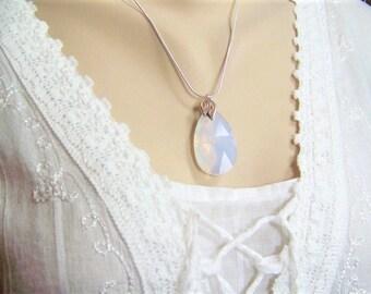 Faceted Opal Necklace, Swarovski Opal Teardrop, Opal Necklace, Large Opal Briolette, Irridescent Opal, Faceted Opal, October Birthstone